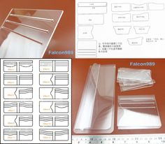 13pcs Leather Craft Acrylic Short Wallet Pattern Stencil Template Tool Set NEW