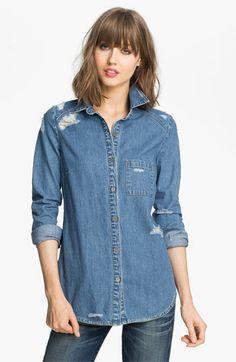 Paige 'Eden' Destroyed Denim Shirt available at Nordstrom