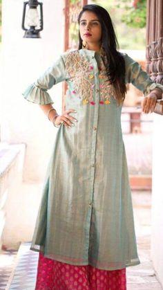 Women's kurtis online: Buy stylish long & short kurtis from top brands like BIBA, W & more. Explore latest styles of A-line, straight & anarkali kurtas. Silk Kurti Designs, Kurti Designs Party Wear, Blouse Designs, Linen Dress Pattern, Embroidered Kurti, Kurti Embroidery Design, Indian Designer Suits, Stylish Dress Designs, Indian Dresses