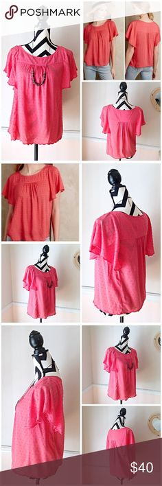 Maeve Sweet Peach Butterfly Sleeve Blouse Maeve Sweet Peach Butterfly Sleeve Blouse. Size 8. Used, Great Condition. No holes, No rips, No stains. Color is a deep peach pink. Bust is 40 inches. Length is 24.5 inches. Blouse is 100% rayon. Feel free to ask questions. 🚫NO TRADES🚫 Anthropologie Tops