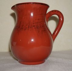 NWT ~ RUSTIC TERRACOTTA PITCHER ~ MADE in ITALY~ Red w/Black 40 oz