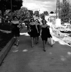 Arriving with your bridal party...with a beautiful confident stride