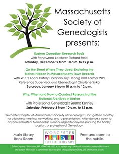 Join us for presentations by Massachusetts Society of Genealogists!