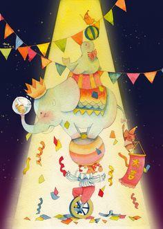 西米菊  的插画 马戏团的朋友们