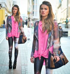 pink top, universe print leggings, matching jacket - I'm in love with this!