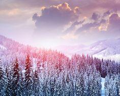 и пейзаж, зима, снег, деревья, горы, лес, небо, облака