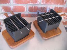 2 Digsmed Teak Cast Iron Individual Hibachi Table Top Grills 1964