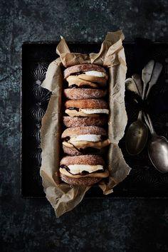 dulce de leche ice cream donut sandwiches.