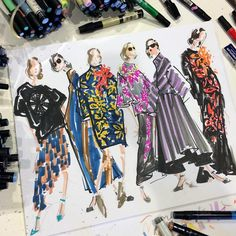 Dries van Noten Fall 2014, by Jenny M Walton / Markers and Microns