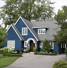 Blue and White Cape Style House blue home white house style architecture cape exterior design. I LOVE this house.