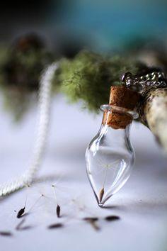 Dandelion wish necklace, Wish bottle necklace, botanical specimen, glass vial pendant, good luck charm necklace, gift for bride, make a wish