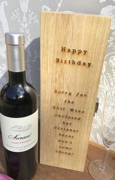 Birthday Wine Box Birthday Gift Gift for Wine Lover Wooden Wine Boxes, Wine Gift Boxes, Custom Stencils, Funny Birthday Gifts, Gifts For Wine Lovers, Personalized Wine, Wine Making, Wooden Diy, Unique Gifts