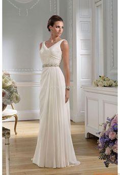 V-neck Schlicht Mollig Elegante Brautkleider 2014 aus Chiffon