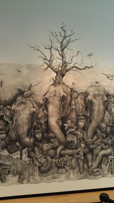 """ArtPrize 2012 ‹ Adonna Khare -  Center panel of this expansive mural titled """"Elephants.""""  (13 feet tall by 40 feet long) -  using a pencil, eraser and a sock as her tools"""