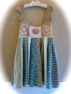 Boho  Silk Dress Shabby Sweet Crocheted Bodice Antique by IzzyRoo, $95.00