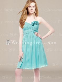 Short Chiffon Ruched A-Line Bridesmaid Dress with Flowers BR048N