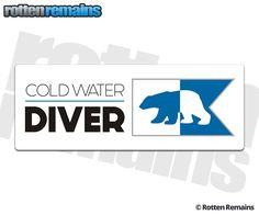Cold Water Diver Polar Bear Alpha Alfa Flag Sticker Decal