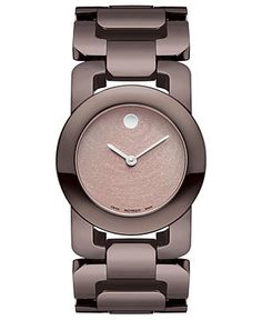 Movado Watch, Women's Swiss Luma Chocolate Brown PVD Stainless Steel Link Bracelet 32mm 0606573 - Movado - Jewelry & Watches - Macy's