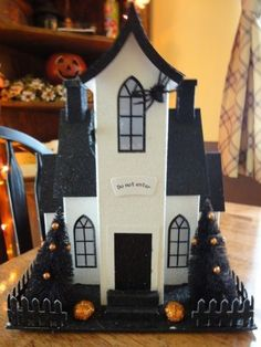 Halloween Putz style House LED Lighted Glitter House