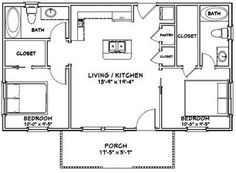 2 Bedroom Floor Plans, Cottage Floor Plans, Small House Floor Plans, Cabin Floor Plans, Cottage Plan, Small House Plans Under 1000 Sq Ft, Cottage Living, Metal Building Homes, Building A House