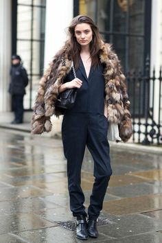 How to wear multi colored faux fur coat, winter 2014 big tend, london street style aw 2013