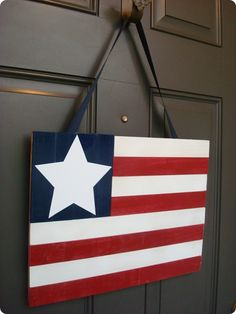 My (less than) $10 Fourth of July door decor. :)  Definitely will be making this for my front door!