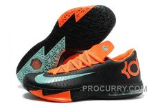 "hot sale online bb9e4 856c5 Nike Kevin Durant KD 6 VI ""Texas"" Black Green Glow-Urban Orange For Sale Hot"