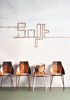 Copper chair design from an article in the Inside Out Magazine. Interior Architecture, Interior And Exterior, Made A Mano, Interior Inspiration, Design Inspiration, Copper And Marble, Copper Art, Copper Metal, Deco Rose