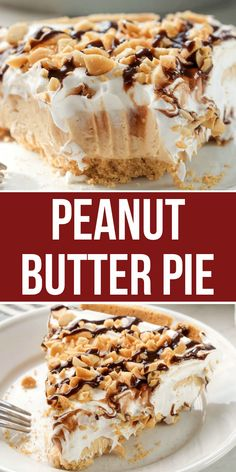 Easy No Bake Desserts, Desserts For A Crowd, Köstliche Desserts, Easy Desserts To Impress, Desserts For Potluck, Easy Holiday Desserts, Easy Peanut Butter Pie, Whipped Peanut Butter, Desserts With Peanut Butter