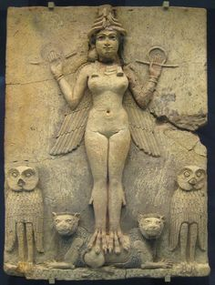 """Famous relief from the Old Babylonian period (now in the British museum) called the """"Burney relief"""" or """"Queen of the Night relief"""". The depicted figure could be an aspect of the goddess Ishtar, Mesopotamian goddess of sexual love and war. However, her bird-feet and accompanying owls have suggested to some a connection with Lilitu (called Lilith in the Bible), though seemingly not the usual demonic Lilitu. 19th C. BC - 18th C. BC:"""