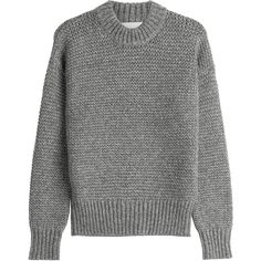 DKNY Chunky Knit Merino Wool Pullover ($214) ❤ liked on Polyvore featuring tops, sweaters, jumper, grey, grey jumper, long sleeve sweater, loose sweater, pullover sweater and chunky knit sweater