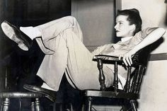 1947, actress Katherine Hepburn relaxes between scenes of the making of a new Metro-Goldwyn-Mayer film  (Photo by Haynes Archive/Popperfoto/Getty Images)