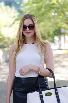 white tank top with black lining #style #leather #skirt #fashionblogger