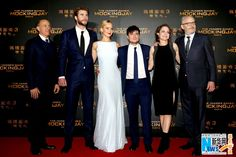 """Director Francis Lawrence, actors Jennifer Lawrence, Josh Hutcherson and Liam Hemsworth, with producers Nina Jacobson and Jon Kilik attend the Chinese premiere of """"The Hunger Games: Mockingjay – Part 2"""" to promote the film in Beijing on Nov. 13, 2015. The film will open in China on Nov. 20.   http://www.chinaentertainmentnews.com/2015/11/the-hunger-games-finale-premieres-in.html"""