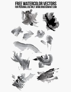 Free watercolor/paint brush stroke Photoshop vectors/brushes and how to use them!