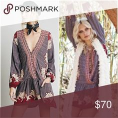 Free People Border Print Drop Waist Mini/Tunic Like new condition tunic or mini dress in rust red/black, worn only a handful of times. 100% rayon. **I thought this fit a little small around the hip/butt and I wanted length to wear as a mini dress, AND since Free People always shrinks on me when I wash/dry, I got this in a large, one or two sizes up from my usual size. It definitely shrunk when I dried it (I'm too lazy to let air dry!), so I think this fits like a loose medium. It fits…