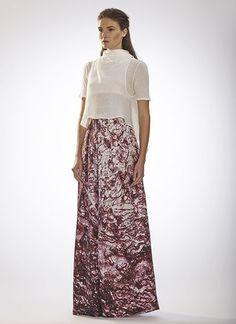 AW14 Cristina Sabaiduc Womenswear Collection   Cropped Twist Top / White Floor-length Pleated Skirt / Maroon Print