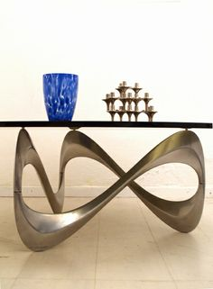 Roland Schmitt; Aluminum and Glass Coffee Table, 1960s.