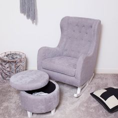 Claudia Nursery Rocking Chair and Ottoman in Grey Linen, Comfortable Choice