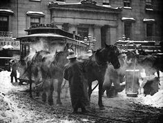 "Gilded Age NYC ~ Photogravure by photographer, Alfred Stieglitz - ""The Terminal"", c.1893. ""In front of old post office, opposite Astor House""."