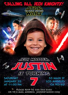 Star Wars Birthday Invitation The Force Awakens by BogdanDesign