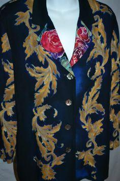 Carole Little Womens Blue Gold Floral Lightweight Artsy Cardigan Top Jacket 8P