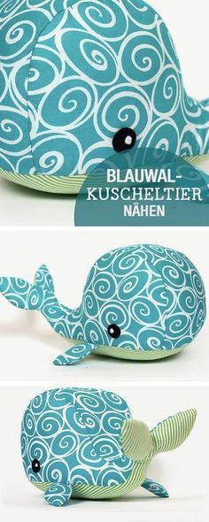 fabric toys DIY-Nhanleitung: Blauwal Kuscheltier nhen, Nhen fr Kinder / diy sewing tutorial: whale soft toy, kids sewing ideas via Sewing Toys, Baby Sewing, Sewing Crafts, Sewing Projects, Sewing Clothes, Diy Crafts, Sewing Stuffed Animals, Stuffed Toys Patterns, Sewing For Kids