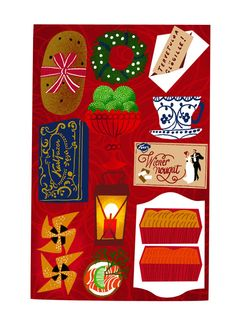 Red xmas table by Sanna Mander.