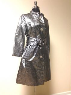 Vintage 1960s Rare Silver Crinkled Metallic Vegan Leather Coat With Rhinestone Buttons by pinkpoppyvintage on Etsy