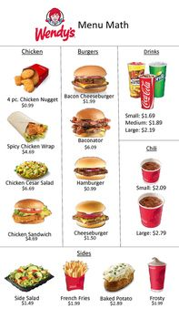 Wendy's menu and worksheet to practice buying items in a restaurant