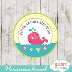 Printable nautical pink whale baby shower personalized tags. Perfect for Favor Tags, Gift Bag Tags, Cupcake Toppers, Stickers and more. #babyprintables