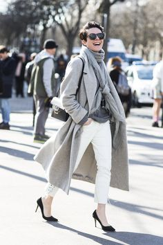 white jeans, layers of soft greys. Garance Dore. #fashionweek
