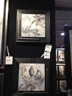 Grey/Purple floral print / rustic wood frame #962014 $42.99  www.lambertpaint.com