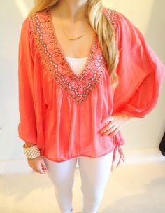 Beaded Coral blouse @ Love in Baton Rouge, LA